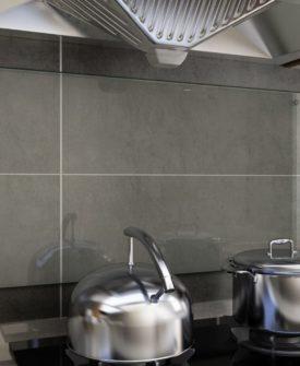 vidaXL stænkplade til køkkenet 90 x 50 cm hærdet glas transparent