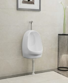 vidaXL væghængt urinal med skylleventil keramisk hvid