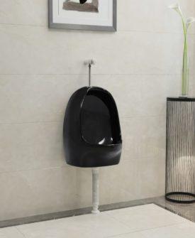 vidaXL væghængt urinal med skylleventil keramisk sort