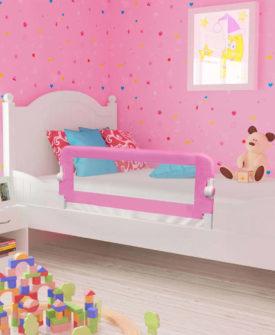 vidaXL sengegelænder til barneseng 120 x 42 cm polyester pink