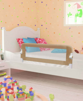 vidaXL sengegelænder til barneseng 120 x 42 cm polyester gråbrun