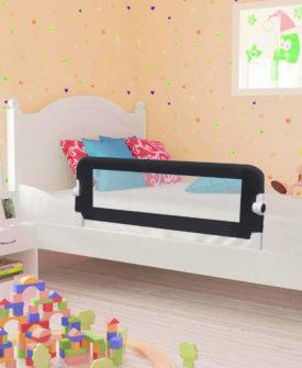 vidaXL sengegelænder til barneseng 120 x 42 cm polyester grå