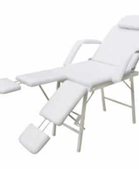 vidaXL mobil ansigtsbehandlingsstol kunstlæder 185 x 78 x 76 cm hvid