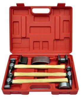 vidaXL buleudretningsværktøj 7 dele med bulehammer og dolly