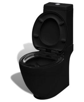 vidaXL toilet firkantet keramik sort