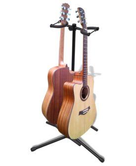 vidaXL dobbelt guitarstativ justérbart sammenfoldeligt