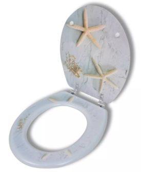 MDF toiletsæde med hård lukkefunktion og spektakulært søstjerne design