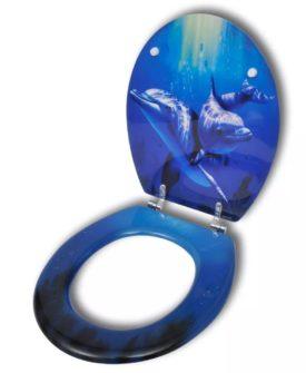 MDF toiletsæde med hård lukkefunktion og spektakulært delfin design