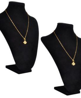 vidaXL halskædeholder buste flannel 2 stk. 23 x 11,5 x 30 cm sort