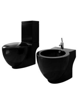 Stående toilet og bidet sæt, sort, keramisk