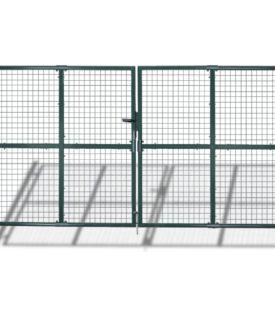 Havehegn med låge og paneler i trådnet, 289×200 cm/306×250 cm