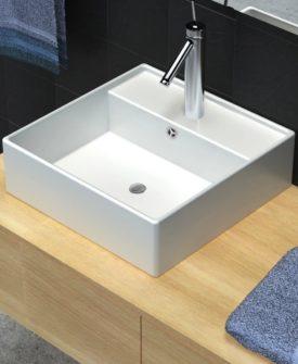 Keramisk firkantet håndvask m. overløb og hul til hane 41 x 41 cm