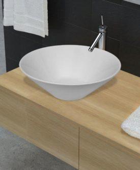 vidaXL badeværelsesvask keramisk skål hvid