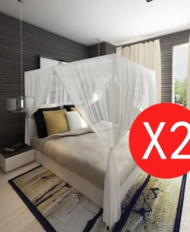 vidaXL myggenet til seng firkantet 3 åbninger 2 stk.