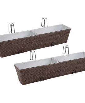 Flower boks til altan 2-Pack rattan / zink brun 80cm