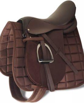 vidaXL sadelsæt til heste 5-i-117,5″ ægte læder brun 18 cm
