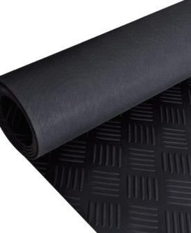 Skridsikker gulvmåtte af gummi 2 x 1 m ternet mønster