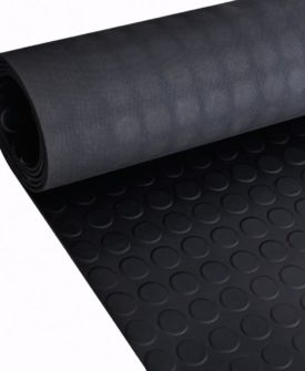 Skridsikker gulvmåtte af gummi 5 x 1 m prikker