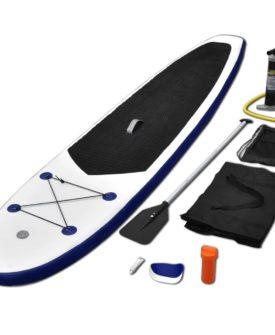 vidaXL Stand Up Paddle Board-sæt SUP surfbræt oppustelig blå og hvid