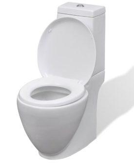 vidaXL keramisk toilet rund hvid