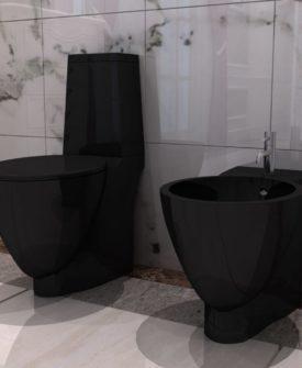 vidaXL toilet- og bidetsæt sort keramik