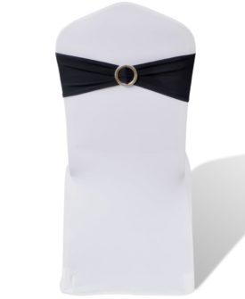 25 stk. Sort dekorative stolebånd i stræk med diamantspænde