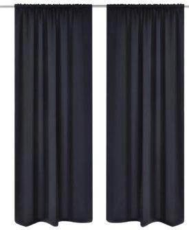 2 stk Sort Blackout Gardiner 135 x 245 cm