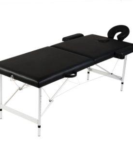 Sort sammenfoldeligt massagebord, 2 zoner med aluminiumsramme