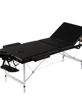 Sort sammenfoldeligt massagebord, 3 zoner med aluminiumsramme