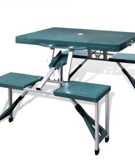 Foldbart campingbordsæt 4 taburetter aluminium ekstra let grøn