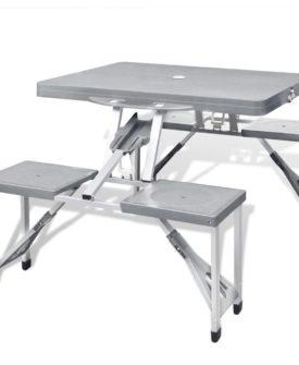 Foldbart campingbordsæt med 4 taburetter i aluminium, ekstra let, grå