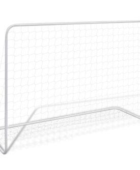 vidaXL fodboldmål med net 182 x 61 x 122 cm stål hvid