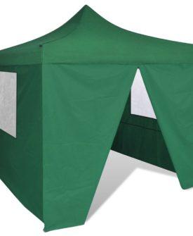 vidaXL sammenfoldeligt telt med 4 vægge 3 x 3 m grøn