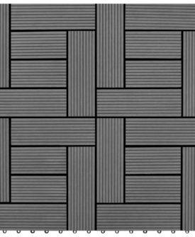 11 stk. grå 30 x 30 cm kompositfliser WPC 1 m2