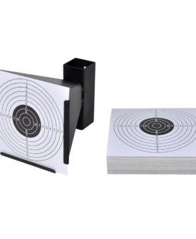 vidaXL skydeskive med kuglefang + 100 målskiver i papir