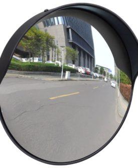 vidaXL konvekst trafikspejl PC plast sort 30 cm udendørs