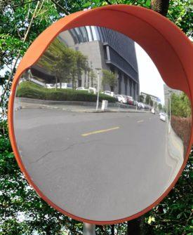 vidaXL konvekst trafikspejl PC plast sort 45 cm udendørs