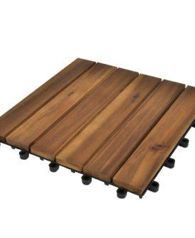 Terrassefliser med lodret mønster i akacietræ, 30 x 30 cm, sæt med 30