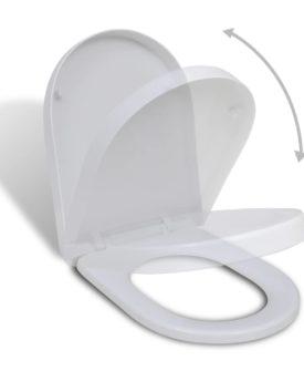 Soft-close toiletsæde, hvidt, firkantet