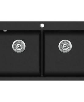 Overflademonteret dobbelt køkkenvask i granit, sort