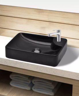 Håndvask i keramik til badeværelse, hul til vandhane, sort