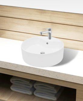 Håndvask i keramik t/badeværelse, hul til vandhane/overløb, hvid, rund