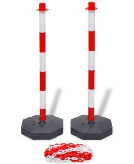 vidaXL trafikpælesæt med plastikkæde på 10 cm