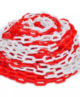 vidaXL advarselskæde 30 m plastik rød og hvid