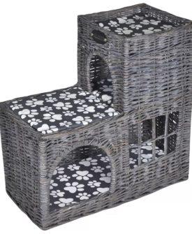 vidaXL kradsetræ/kattehus/seng med puder pileflet