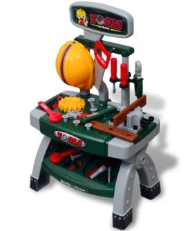 vidaXL legetøjsarbejdsbænk m. værktøj grøn og grå