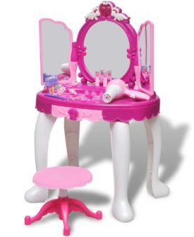 vidaXL stående legetøjskosmetikbord til børn med 3 spejle og lys/lyd