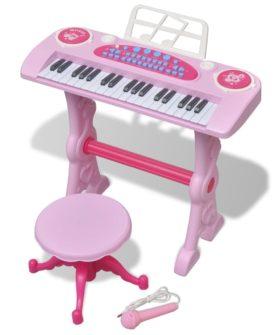 vidaXL legetøjskeyboard med skammel/mikrofon pink