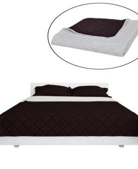 Dobbeltsided quiltet sengetæppe beige/brun 170 x 210 cm