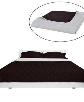 Dobbeltsidet quiltet sengetæppe beige/brun 220 x 240 cm